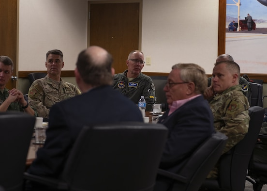 Brig. Gen. Todd Canterbury, 56th Fighter Wing commander, briefs Eielson Air Force Base military and civic leaders about F-35A Lightning II training Nov. 19, 2019, at Luke AFB, Ariz.