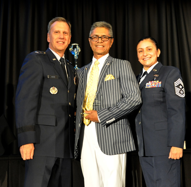 Mr. Jamil Dada received the inaugural Community Leader of the Year Award. Dada has served the Riverside community and March ARB for more than 30 years. He serves as President of the March Field Air Museum, which holds one of the largest collections of military aircraft on the West Coast. Additionally, he is the first resident of Riverside to serve on the Air Mobility Command's Civic Leader Program at March Air Reserve Base. (U.S. Air Force photo by Candy Knight)