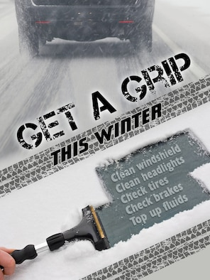 Taking time to take precautions such as cleaning windshield and headlights, checking tires, brakes and fluids, along with slowing down and driving for the road and weather conditions, will help Team Mildenhall members and their families stay safe this winter. (U.S. Air Force graphic by Gary Rogers)