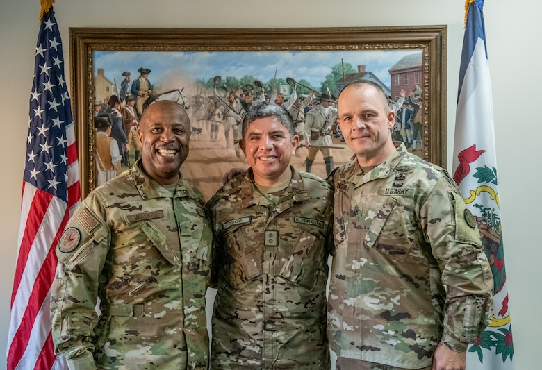 "Maj. Gen. Mario E. Risco, Defense and Military Attaché to the Embassy of Peru in Washington, D.C., poses for a photo with Brig. Gen. Christopher ""Mookie"" Walker, Assistant Adjutant General – Air of the West Virginia National Guard (WVNG), and Senior Enlisted Leader, Command Sgt. Maj. Phillip Cantrell, during a State Partnership Program (SPP) visit at Joint Force Headquarters, Charleston, W.Va."