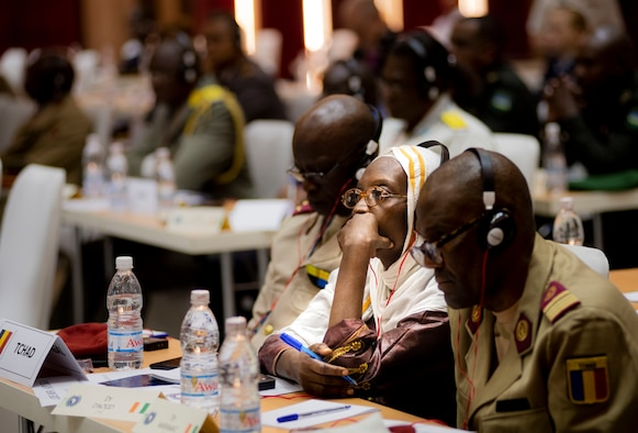 Dr. Saada Daoud, a representative from Chad, listens to a key note speak from the U.S. Center for Disease Control during the African Partner Outbreak Response Alliance (APORA) conference, Abidjan, Côte d'Ivoire, Nov. 18, 2019.