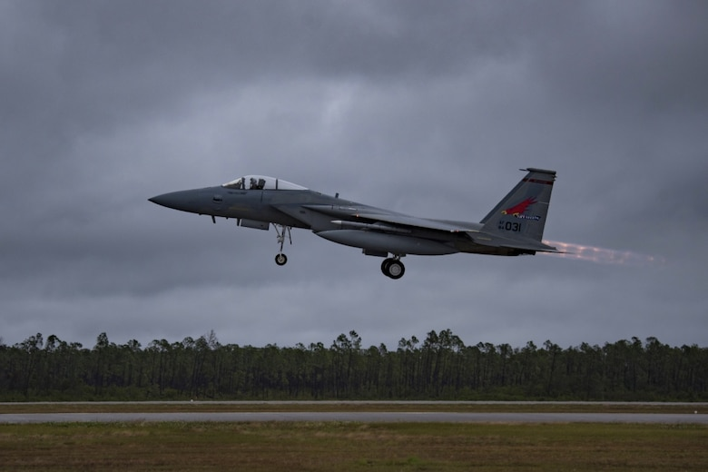 An F-15 Eagle, assigned to the 123rd Fighter Squadron, 142nd Fighter Wing, Oregon Air National Guard Base, takes off from Tyndall Air Force Base, Fla., during exercise Checkered Flag Nov. 12, 2019. Checkered Flag is a multi-airframe, joint-service exercise that enables pilots to carry out complex air-to-air combat scenarios. (U.S. Air National Guard photo by Tech. Sgt. Steph Sawyer)
