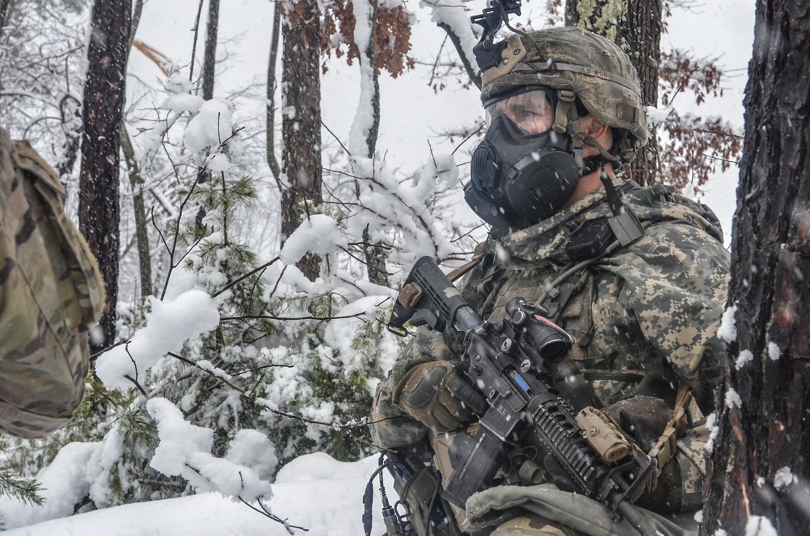 Paratrooper assigned to Charlie Company, 1st Battalion, 508th Parachute Infantry Regiment, provides security outside subway tunnel at Fort A.P. Hill, Virginia, March 21, 2018 (U.S. Army)
