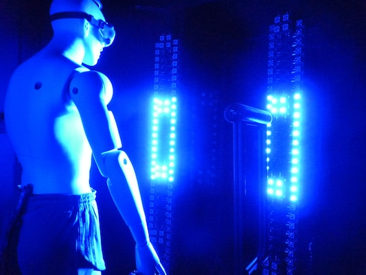 Array of blue light-emitting diodes and time-gated specialized camera is used to collect whole body image data from test mannequin (Courtesy Howard J. Walls/Aerosol Control Group Lead, RTI International)