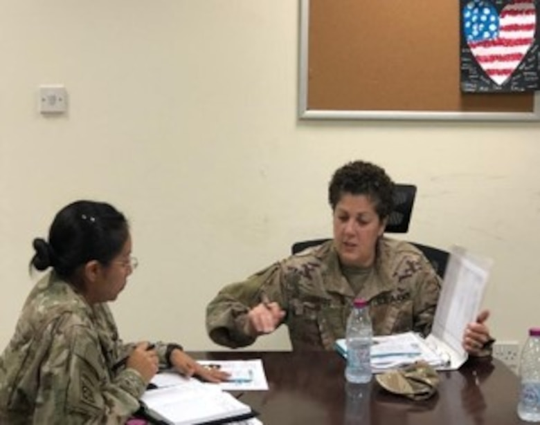 Capt. Mirianne Liakos discusses with Maj. Alexis Mendoza to plan nutrition classes in Qatar as part of the as part of the 3D MC (DS) Det. 1 FWD, Nutrition Care Team mission across the CENTCOM Area of Operation.