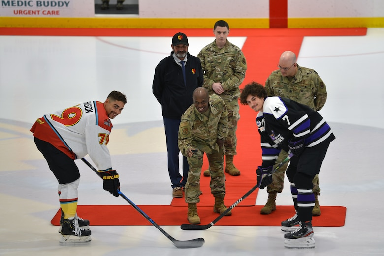 Photo of ceremonial first puck drop.