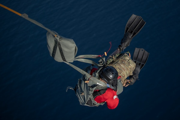Pararescueman with 82nd Expeditionary Rescue Squadron, deployed in support of Combined Joint Task Force–Horn of Africa, participates in static line jump from 75th Expeditionary Airlift Squadron C-130J Hercules near Camp Lemonnier, Djibouti, May 11, 2019 (U.S. Air Force/Chris Hibben)