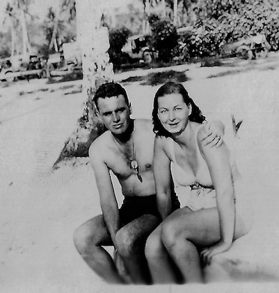 Captain Robert Haggerty (left) and Navy Lt. Mary O Neill (right) in Guam shortly after the Japanese surrender.