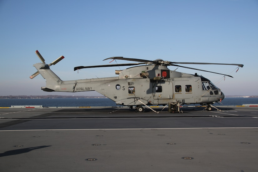 A Royal Navy helicopter