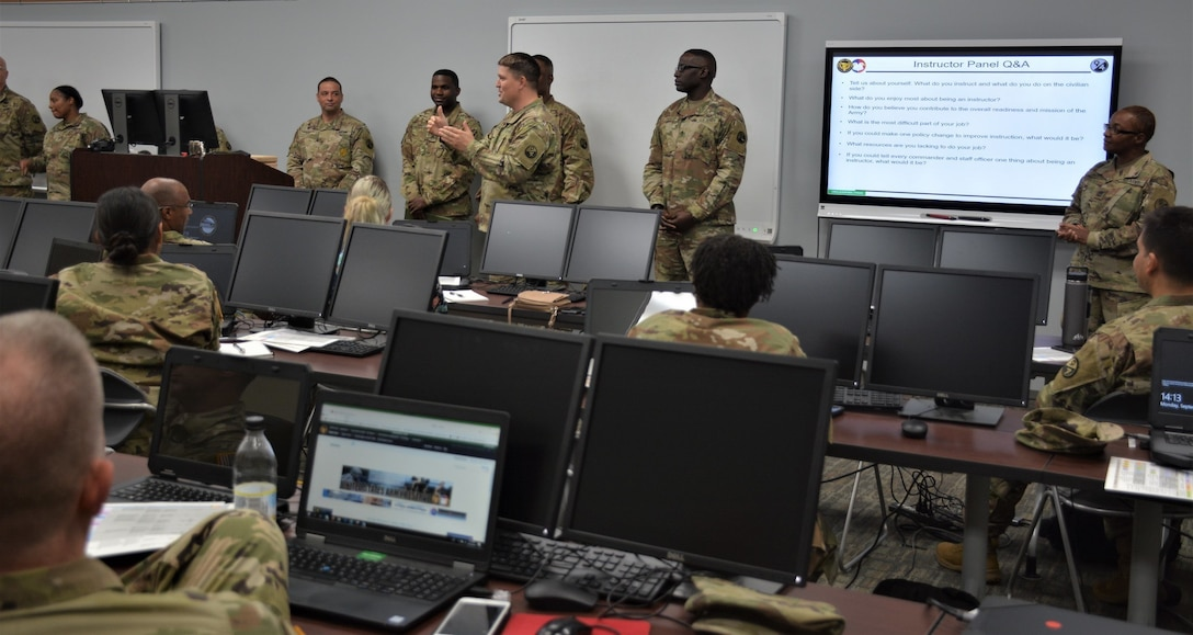 The 94th Training Division – Force Sustainment headquarters key leaders conducted a staff exercise on Fort Lee, Virginia, Sept. 9-11, 2019. Main topics of discussion centered on improving full-time staff and Troop Program Unit Soldiers' engagement for the one-star command and its subordinate units as well as exploring the military decision-making process to solve complex requirements.