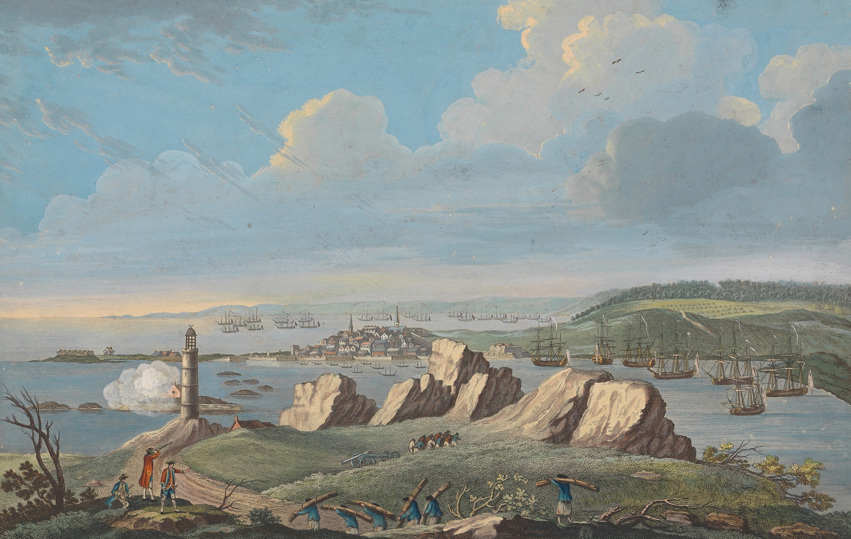 """""""View of Louisbourg when the city was besieged by British forces in 1758,"""" Captain Charles Ince, drawn on the spot, engraved by P. Canot, November 11, 1762 (Courtesy Yale Center for British Art, Paul Mellon Collection)"""