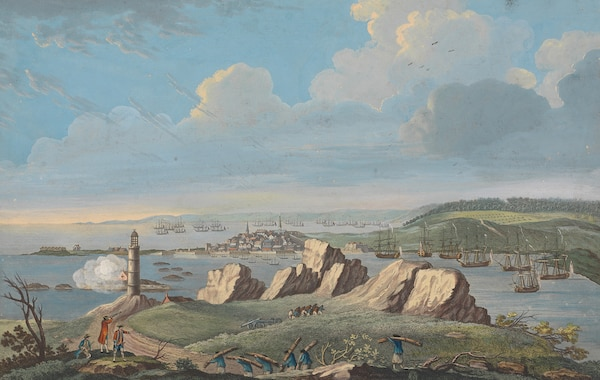 """View of Louisbourg when the city was besieged by British forces in 1758,"" Captain Charles Ince, drawn on the spot, engraved by P. Canot, November 11, 1762 (Courtesy Yale Center for British Art, Paul Mellon Collection)"