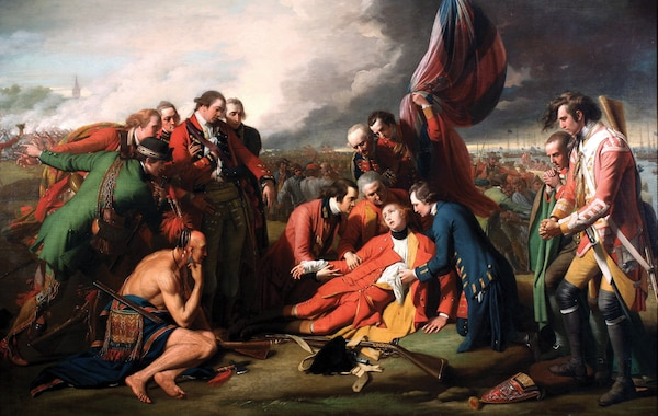 Death of General Wolfe, by Benjamin West, 1770, oil on canvas, National Gallery of Canada (Courtesy of The Yorck Project)