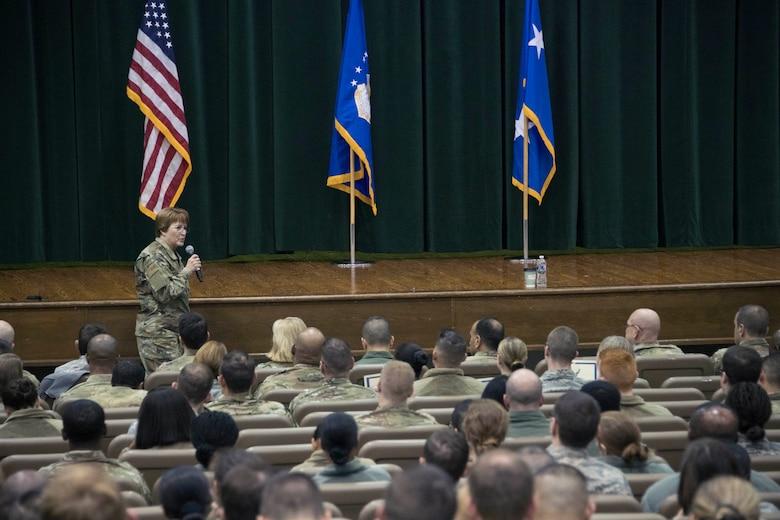 Lt. Gen. Dorothy Hogg speaks to Airmen