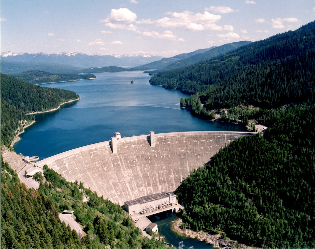 Hungry Horse Dam on the south fork of the Flathead River.