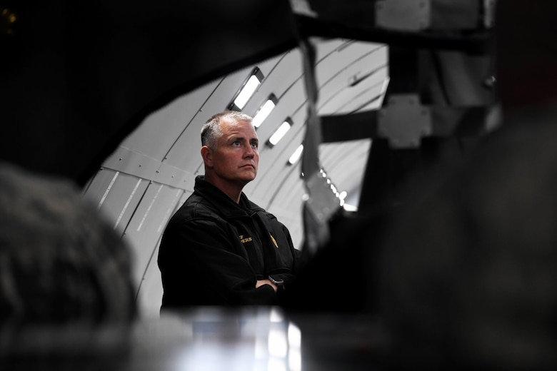 Roger Xanders, Wichita Airport Police and Fire chief, examines the interior of a KC-46 Pegasus fuselage trainer Nov. 12, 2019, at McConnell Air Force Base, Kan. The fuselage trainer, which is currently one of two KC-46 trainers in the world, replicates the interior body of KC-46. (U.S. Air Force photo by Airman 1st Class Nilsa E. Garcia)