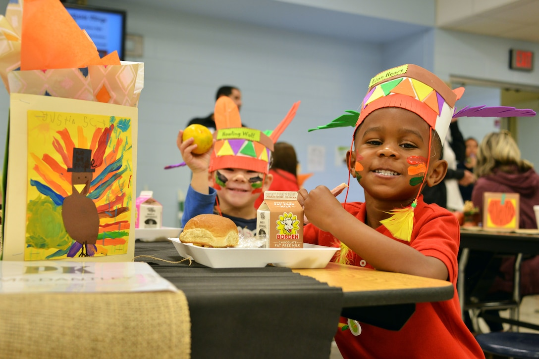 Airmen stationed at Tyndall Air Force Base, Florida, attended a Thanksgiving holiday lunch at Northside Elementary School in Panama City, Florida, Nov. 21, 2019. Team Tyndall members helped serve food and also engaged with children whose families were not able to attend the event. Team Tyndall members donate hundreds of hours of volunteer work each year to help support the local community. (U.S. Air Force photo by 2nd Lt. Kayla Fitzgerald)