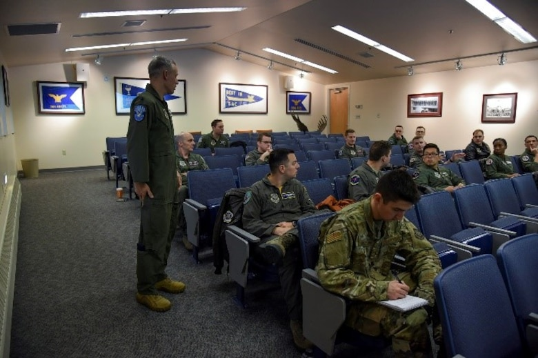 U.S. Air Force Lt. Col. Jacob Thornburg, Air Mobility Command chief of force development, speaks to company grade officers during the Rated Officer Development Roadshow at Fairchild Air Force Base, Nov. 15, 2019.