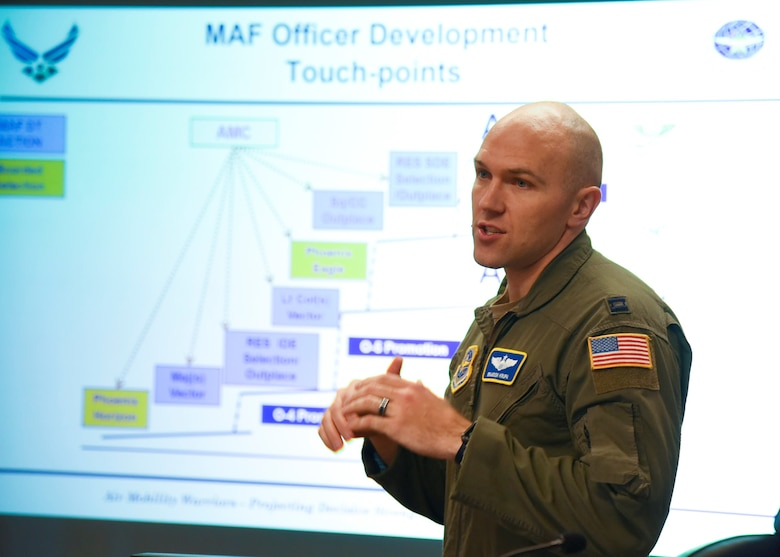 U.S. Air Force Capt. Brandon Krupa, Air Mobility Command deputy chief force development, speaks to a group of company grade officers during the Rated Officer Development Road Show at Fairchild Air Force Base, Washington, Nov. 15, 2019.