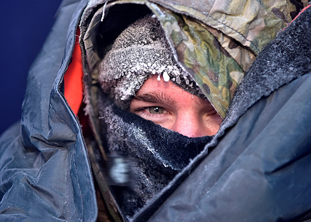 Arctic Survival School instructor tests an F-35A Lightning II survival-gear kit