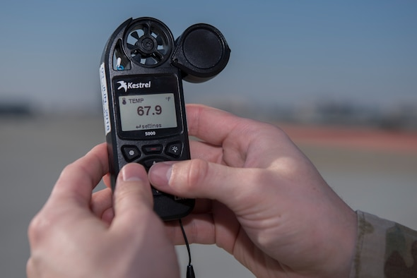 U.S. Air Force Senior Airman Dylan Marler, 60th Operation Support Squadron weather forecaster, tests the wind speed on a wind meter Nov. 18, 2019, at Travis Air Force Base California. Marler is able to detect when storms approach Travis AFB by testing when the local wind speeds pick up. (U.S. Air Force photo by Airman 1st Class Cameron Otte)