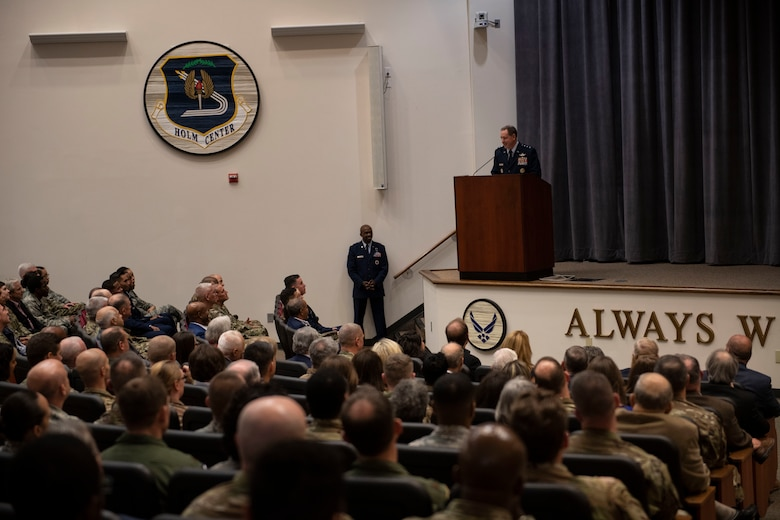 Lt. Gen. Brad Webb, commander of Air Education and Training Command, addresses the audience during an assumption of command ceremony in which Lt. Gen. James B. Hecker takes over as the commander and president of Air University Nov. 22, 2019, at Maxwell Air Force Base, Alabama. The AU is responsible for officer commissioning through Officer Training School and the Reserve Officer Training Corps.