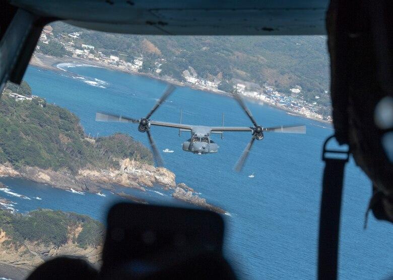 A CV-22 Osprey during a spouse incentive flight