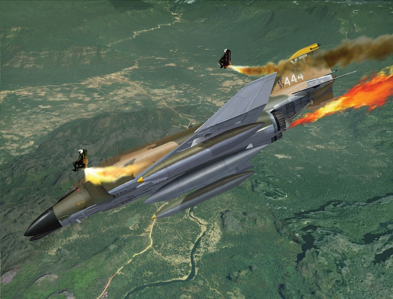Dec. 5 marks the 50th anniversary of a flying mission that went very wrong during the Vietnam War. On that morning in 1969, two F-4 Phantoms from the 12th Tactical Fighter Wing, assigned to the 558th Tactical Fighter Squadron, launched from Nakhon Phanom Air Base for a bombing mission over Laos. Only one aircraft made it back. Capt. Ben Danielson piloted the second F-4 – call sign Boxer 22 – with 1st Lt. Woodrow Bergeron Jr. in his back seat. As Danielson lined up his target, enemy anti-aircraft fire tore through the F-4 and immediately set it ablaze.