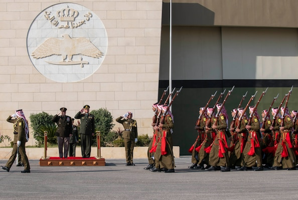Army Gen. Mark A. Milley, chairman of the Joint Chiefs of Staff, is hosted by Jordanian Air Force Lt. Gen. Yousef al-Hunaiti, chairman of the Joint Chiefs of Staff of the Jordanian Armed Forces, for an Honors Arrival Ceremony in Amman, Jordan, Nov. 24, 2019.