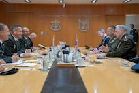 Army Gen. Mark A. Milley, chairman of the Joint Chiefs of Staff, is hosted by Israeli Army Lt. Gen. Aviv Kohavi, chief of the Israeli General Staff, at The Kirya in Tel Aviv, Israel, Nov. 24, 2019.