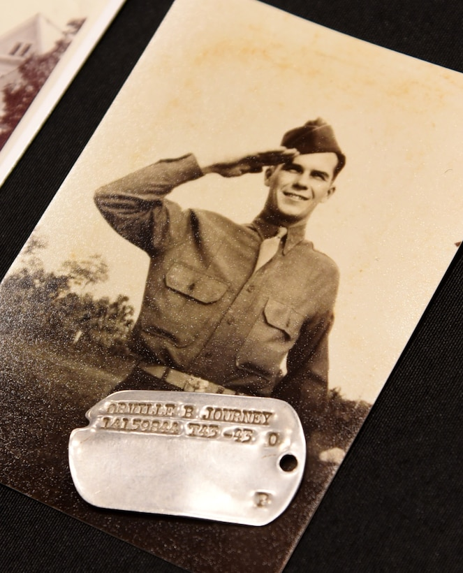 An image of TSgt. Bruce Journey during his time in service, with his recently returned dog tags