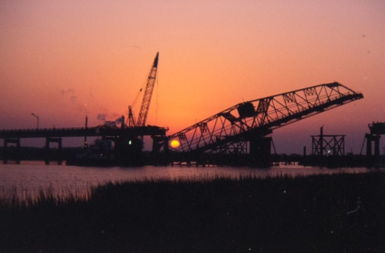 Ben Sawyer Bridge after Hurricane Hugo