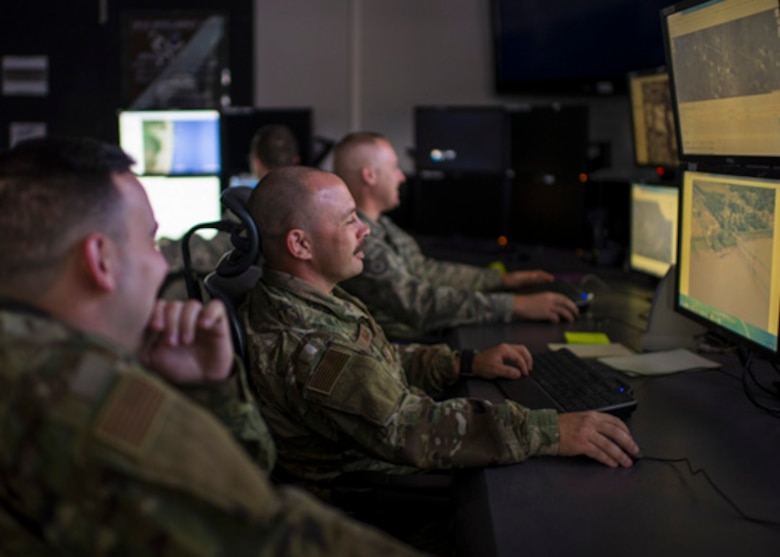 Intelligence Analysts, assigned to the Indiana Air National Guard's 181st Intelligence Wing, 137th Intelligence Squadron Unclassified Processing, Assessment, and Dissemination (UPAD), assisted in the development of Artificial Intelligence programs for domestic operations at Hulman Field Indiana National Guard Base, Ind., Nov. 02, 2019. (U.S. Air National Guard photo by Tech. Sgt. L. Roland Sturm)