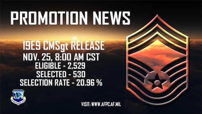 Air Force officials selected 530 senior master sergeants for promotion to chief master sergeant of the 2,529 eligible in the 19E9 promotion cycle. The promotion list will post Nov. 25, 2019. (U.S. Air Force graphic by Kat Bailey)