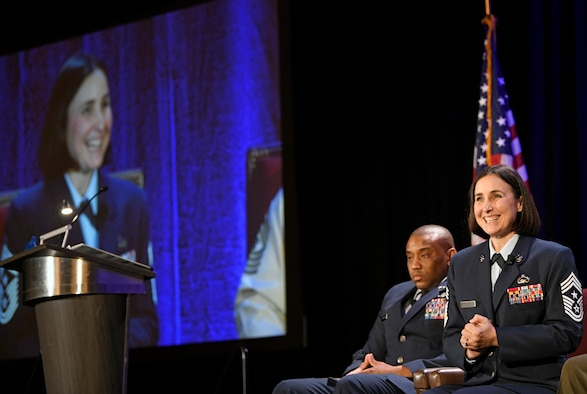 U.S. Air Force Chief Master Sgt. Summer Leifer, Sixteenth Air Force command chief, speaks to Alamo Armed Forces Communication and Engineering Association Chapter Event attendees in San Antonio, Texas, Nov. 20, 2019. Leifer sat on a Senior Enlisted Leader panel during the annual cyber- and technology-focused conference to discuss cyber enlisted matters. (U.S. Air Force photo by Tech. Sgt. R.J. Biermann)