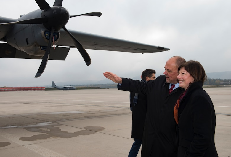 Scott Lockard, left, 86th Airlift Wing vice director, shows Nicole Steingaß, Rheinland-Palatinate state secretary, a C-130J Super Hercules aircraft on Ramstein Air Base, Germany, Nov. 20, 2019. Steingaß coordinates between the Rheinland-Palatinate and the U.S. forces who operate within its borders.