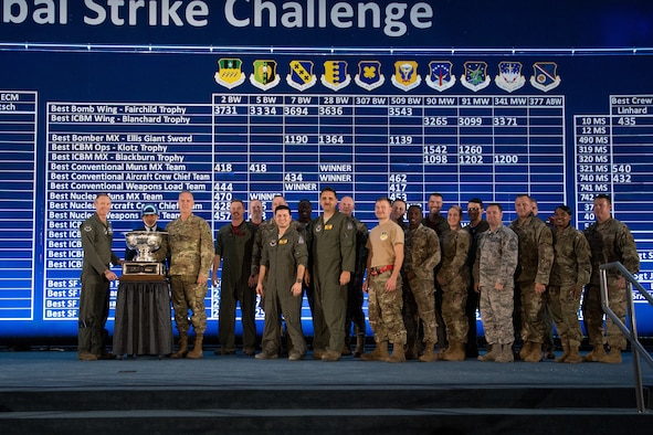 The Fairchild trophy was awarded to the 2nd Bomb Wing, Barksdale Air Force Base, La., during the 2019 Global Strike Challenge score posting at Barksdale Air Force Base, La., Nov. 20, 2019.