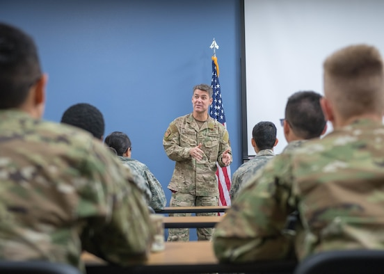 Command chief informs Airmen on their role in the mission