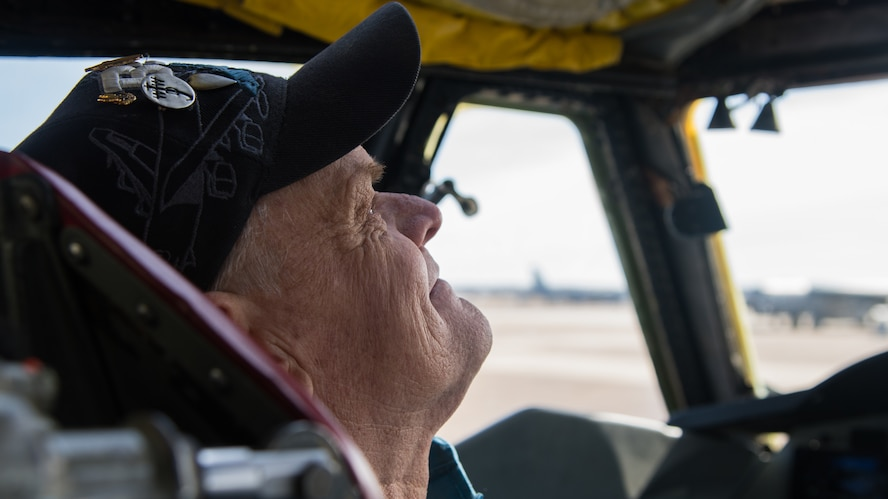 Retired Staff Sgt. Mark James, former B-52H Stratofortress crew chief, reunites with his former aircraft at Barksdale Air Force Base, La., Nov 13, 2019. James began his career at Barksdale in 1973 and retired from the Air Force in 1991. (U.S. Air Force photo by Airman 1st Class Jacob B. Wrightsman)