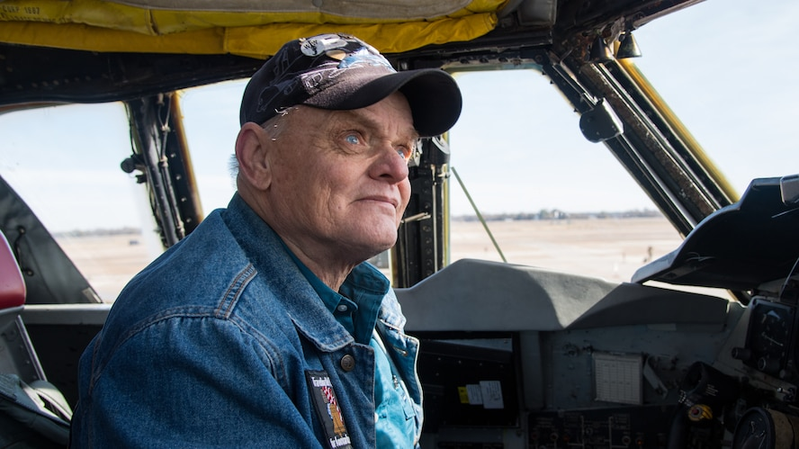 Retired Staff Sgt. Mark James, former B-52H Stratofortress crew chief, reunites with his former aircraft at Barksdale Air Force Base, La., Nov 13, 2019. James was the dedicated crew chief on aircraft 0062, which is now assigned to the 2nd Aircraft Maintenance Squadron at Barksdale. (U.S. Air Force photo by Airman 1st Class Jacob B. Wrightsman)