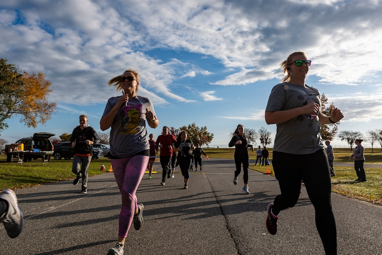 A photo of participants running the Health and Readiness Optimization Dash 4K