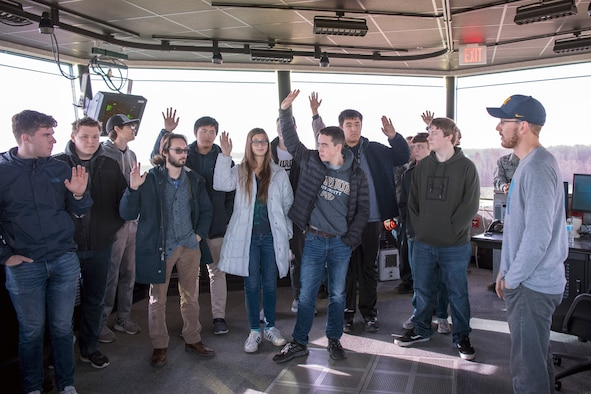 Brandon Rockman, 434th Operations Support Squadron air traffic control specialist, speaks to students from Purdue University, Indiana, about Grissom's air traffic control during a tour Nov. 17, 2019. This year marked the fourth year the wing has hosted Purdue students in an effort to educate them on military careers in the aviation field. (U.S. Air Force photo/Master Sgt. Benjamin Mota)