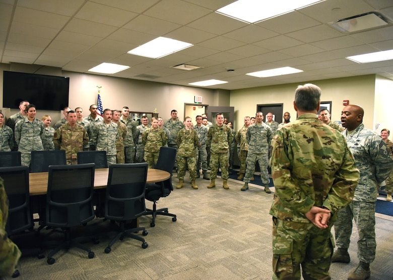 Maj. Gen. Randall A. Ogden, 4th Air Force commander speaks to members of the 911th Logistics Readiness Squadron at the Pittsburgh International Airport Air Reserve Station, Pennsylvania, Nov. 3, 2019.