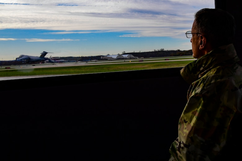 Maj. Gen. Randall A. Ogden, 4th Air Force commander, watches a C-17 Globemaster III depart from Pittsburgh International Airport Air Reserve Station, Pennsylvania, Nov. 4, 2019.