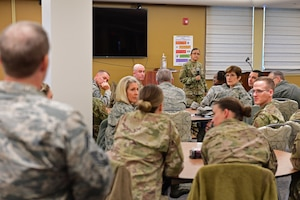 hief Master Sgt. Cynthia Villa, 4th Air Force command chief, and Airmen of the 911th Airlift Wing listen to a question posed by 911th Airlift Wing Inspector General Inspections Superintendent Senior Master Sgt. Daniel Healy at the Pittsburgh International Airport Air Reserve Station, Pennsylvania, Nov. 1, 2019.