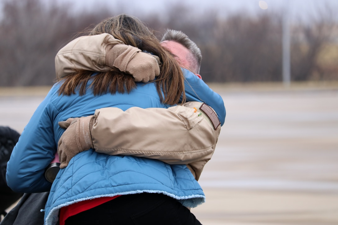 Members of the 507th Air Refueling Wing return home from a deployment to Southwest Asia Nov. 25, 2019, at Tinker Air Force Base, Oklahoma. (U.S. Air Force photo by Senior Airman Mary Begy)