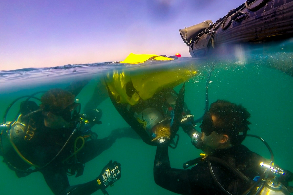 Two sailors dive underwater wearing dive gear.