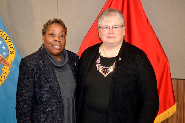 The Defense Logistics Agency Troop Support bid farewell to two civilian employees during a retirement ceremony November 25 in Philadelphia. Sheila Taylor, from Military Personnel, retired after 36 years of service. Carolyn Dempsey, who worked in the Subsistence supply chain, retired after serving 31 years.