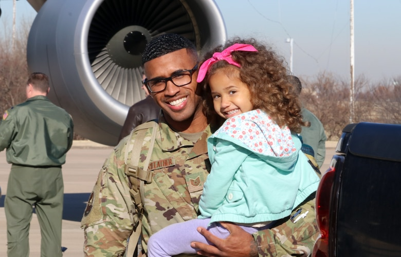 Tech Sgt. Leon Pennyfeather, 507th Operations Support Squadron, returns from a deployment to Southwest Asia Nov. 25, 2019, at Tinker Air Force Base, Oklahoma. (U.S. Air Force photo by Senior Airman Mary Begy)