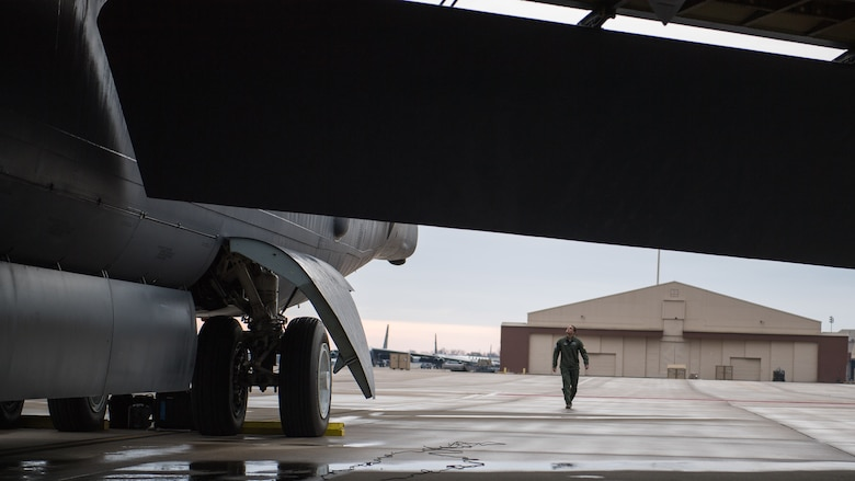 Capt. Shawn O'Donnell, 20th Bomb Squadron pilot, inspects a B-52H Stratofortress while preparing for take off at Barksdale Air Force Base, La., Nov. 21, 2019.